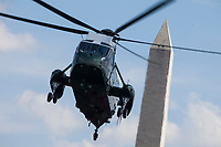 Marine One arrives at The White House carrying President Donald Trump, First Lady Melania Trump, and their son, Barron Trump, on June 18, 2017 in Washington, D.C. President Trump spent the weekend at Camp David. <br /> Credit: Zach Gibson / Pool via CNP /MediaPunch