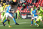 FK Trakai v St Johnstone&hellip;06.07.17&hellip; Europa League 1st Qualifying Round 2nd Leg, Vilnius, Lithuania.<br />Joe Shaughnessy&rsquo;s header is blocked<br />Picture by Graeme Hart.<br />Copyright Perthshire Picture Agency<br />Tel: 01738 623350  Mobile: 07990 594431
