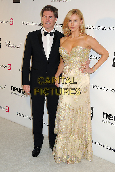 Carsten Maschmeyer, Veronica Ferres.21st Annual Elton John Academy Awards Viewing Party held at West Hollywood Park, West Hollywood, California, USA..February 24th, 2013.oscars full length black white gold tuxedo strapless beads beaded dress hand on hip.CAP/ADM/BP.©Byron Purvis/AdMedia/Capital Pictures.
