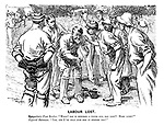 """Labour Lost. Sympathetic fast bowler. """"What! Has it knocked a tooth out, old chap? Hard lines!"""" Injured batsman. """"Yes, and I've only just had it stopped too!"""""""