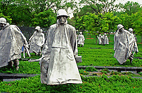 Korean War Memorial, Washington, DC, District of Columbia, Statues of soldiers in ponchos in a rice paddy field at the Korean War Veterans Memorial.