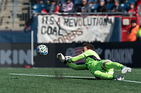 FOXBOROUGH, MA - MARCH 7: Kecceth Kronholm #18 of Chicago Fire makes a save during a game between Chicago Fire and New England Revolution at Gillette Stadium on March 7, 2020 in Foxborough, Massachusetts.