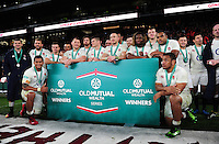 The England team pose for a photo after the match. Old Mutual Wealth Series International match between England and South Africa on November 12, 2016 at Twickenham Stadium in London, England. Photo by: Patrick Khachfe / Onside Images