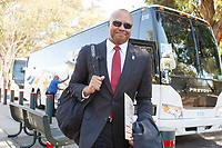 Stanford, CA - September 8, 2018: David Shaw, head coach, and the team arrive before the start of the the Stanford vs USC football game Saturday night at Stanford Stadium.<br /> <br /> Score was USC3, Stanford 17.