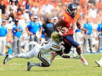 DUPLICATE***Virginia place kicker Ian Frye (14)***Virginia wide receiver Andre Levrone (14) during the game in Charlottesville, VA. Virginia lost to UCLA 28-20. Photo/Andrew Shurtleff