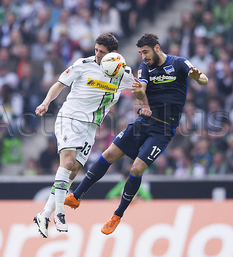 03.04.2016. Monchengladbach, Germany.  Bundesliga Football. Borussia Monchengladbach versus Hertha Berlin.  Lars Stindl (BMG), Tolga Cigerci (BSC) VfL