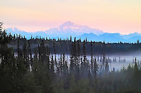 Mt. McKinley seen at dawn from the south, near the community of Petersville, Alaska.