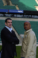 Jonno [Johnson] and Jonah [Lomu] Press Conference, 'Spirit of Rugby Suite' RFU Stadium, Twickenham, LONDON. 23.01.2005  To announce the 'Head to head' game to by played a Twickenham on the 4th June 2005.  Martin Johnson [left] and Jonah Lomu...Photo  Peter Spurrier. .email images@intersport-images...