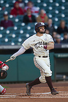 Texas A&M Aggies second baseman Ryne Birk (2) follows through on his swing during Houston College Classic against the Nebraska Cornhuskers on March 6, 2015 at Minute Maid Park in Houston, Texas. Texas A&M defeated Nebraska 2-1. (Andrew Woolley/Four Seam Images)