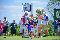 Jenny Shin (KOR) and Charley Hull (ENG) share a laugh on the number 1 tee prior to Sunday's final round of the 72nd U.S. Women's Open Championship, at Trump National Golf Club, Bedminster, New Jersey. 7/16/2017.<br /> Picture: Golffile | Ken Murray<br /> <br /> <br /> All photo usage must carry mandatory copyright credit (&copy; Golffile | Ken Murray)