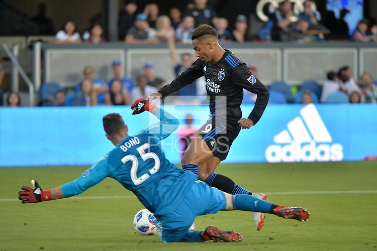 San Jose, CA - Saturday August 18, 2018: Danny Hoesen, Alex Bono during a Major League Soccer (MLS) match between the San Jose Earthquakes and Toronto FC at Avaya Stadium.