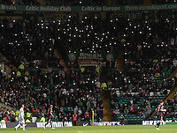 The crowd protest about being filmed by Strathclyde Police  FOCUS in the Celtic v St Mirren Clydesdale Bank Scottish Premier League match played at Celtic Park, Glasgow on 15.12.12.