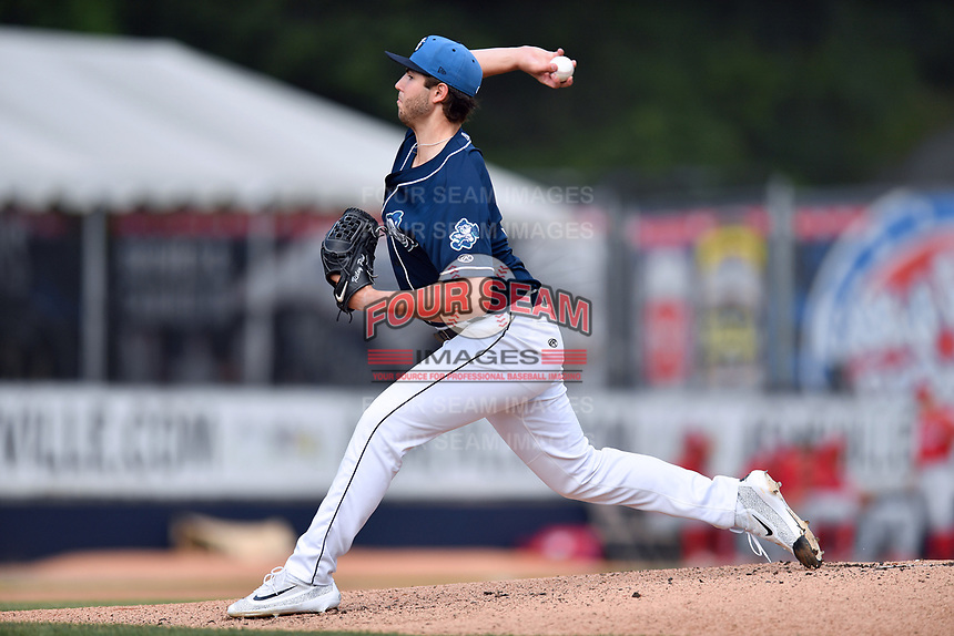 Asheville Tourists starting pitcher Riley Pint (32) delivers a pitcher during a game against the Lakewood BlueClaws at McCormick Field on June 3, 2017 in Asheville, North Carolina. The Tourists defeated the BlueClaws 10-7. (Tony Farlow/Four Seam Images)