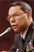 United States Army General Colin L. Powell, Chairman of the Joint Chiefs of Staff, testifies before the US Senate Armed Services Committee on the subject of the defense budget and the progress of Operation Desert Storm on Capitol Hill in Washington, DC on February 21, 1991.<br /> Mandatory Credit: Robert D. Ward / DoD via CNP