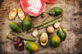 INDONESIA, Flores, all of the components for chewing Beetle Nut including lime made from seashell and a pod called Daka