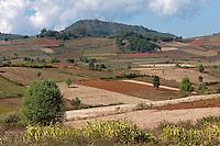 Myanmar, Burma.  Farmland in Shan State.
