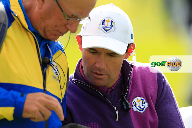 Vice Captain Padraig Harrington (EUR) during Practice on Wednesday at the 40th Ryder Cup, The Gleneagles Hotel, Perthshire from 26th to 28th September 2014<br /> Picture Eoin Clarke, www.golffile.ie