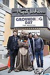 """Andy Karl, Mr. Groundhog, Barrett Doss, and Danny Rubin visit the """"Groundhog Day'' opening day box office at The August Wilson Theatre on February 2, 2017 in New York City."""