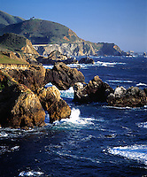 PACIFIC WAVES meet the  BIG SUR COASTLINE near BIXBY BRIDGE in the MONTEREY BAY SANCTUARY- CALIFORNIA..