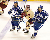 Paul Weisgarber (Air Force - 10), Pat Mullane (BC - 11), Stephen Carew (Air Force - 19) - The Boston College Eagles defeated the Air Force Academy Falcons 2-0 in their NCAA Northeast Regional semi-final matchup on Saturday, March 24, 2012, at the DCU Center in Worcester, Massachusetts.