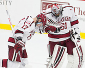 Double dab - Sean Malone (Harvard - 17), Merrick Madsen (Harvard - 31) - The Harvard University Crimson defeated the visiting Rensselaer Polytechnic Institute Engineers 5-2 in game 1 of their ECAC quarterfinal series on Friday, March 11, 2016, at Bright-Landry Hockey Center in Boston, Massachusetts.