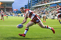 Picture by David Neilson/SWpix.com/PhotosportNZ - 10/02/2018 - Rugby League - Betfred Super League - Wigan Warriors v Hull FC  - WIN Stadium, Wollongong, Australia - Wigan's Liam Marshall scores a try against Hull FC.