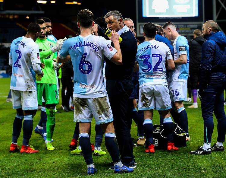 Blackburn Rovers manager Tony Mowbray gives instructions to his team after full time<br /> <br /> Photographer Alex Dodd/CameraSport<br /> <br /> Emirates FA Cup Third Round Replay - Blackburn Rovers v Newcastle United - Tuesday 15th January 2019 - Ewood Park - Blackburn<br />  <br /> World Copyright © 2019 CameraSport. All rights reserved. 43 Linden Ave. Countesthorpe. Leicester. England. LE8 5PG - Tel: +44 (0) 116 277 4147 - admin@camerasport.com - www.camerasport.com