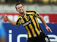Phoenix' Tim Brown celebrates his goal. A-League football - Wellington Phoenix v Central Coast Mariners at Westpac Stadium, Wellington. Friday, 12 February 2010. Photo: Dave Lintott / lintottphoto.co.nz