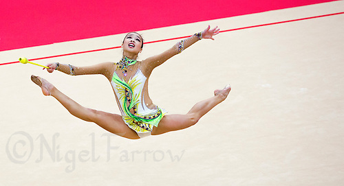 11 AUG 2012 - LONDON, GBR - Yeon-Jae Son (KOR) of South Korea performs her club routine during the 2012 London Olympic Games Individual All-Around Rhythmic Gymnastics final at Wembley Arena in London, Great Britain (PHOTO (C) 2012 NIGEL FARROW)