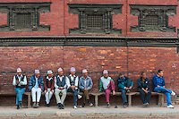 Elders observing the activities in the Patan square at Lalitpur, Nepal