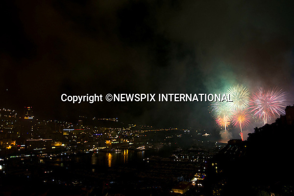 """MONACO ROYAL WEDDING .Prince Albert II and Princess Charlene Wittstock.Fireworks to celebrate H.S.H Prince Albert II and Miss Charlene Wittstock's wedding in Port Herclus._Prince's Palace Monaco 01/07/2011..Mandatory Photo Credit: ©Dias/Newspix International..**ALL FEES PAYABLE TO: """"NEWSPIX INTERNATIONAL""""**..PHOTO CREDIT MANDATORY!!: NEWSPIX INTERNATIONAL(Failure to credit will incur a surcharge of 100% of reproduction fees)..IMMEDIATE CONFIRMATION OF USAGE REQUIRED:.Newspix International, 31 Chinnery Hill, Bishop's Stortford, ENGLAND CM23 3PS.Tel:+441279 324672  ; Fax: +441279656877.Mobile:  0777568 1153.e-mail: info@newspixinternational.co.uk"""