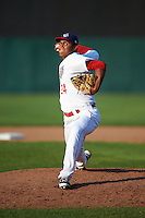 Auburn Doubledays relief pitcher Steven Fuentes (24) delivers a pitch during a game against the Williamsport Crosscutters on June 26, 2016 at Falcon Park in Auburn, New York.  Auburn defeated Williamsport 3-1.  (Mike Janes/Four Seam Images)