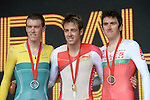 The podium for the men's cycling time trial.  From left, silver medalist Australia's Rohan Dennis, gold medalist England's Alex Dowsett and bronze medalist Wales' Geraint Thomas<br /> <br /> Photographer Chris Vaughan/Sportingwales<br /> <br /> 20th Commonwealth Games - Day 8 - Thursday 31st July 2014 - Cycling - time trial - Glasgow - UK