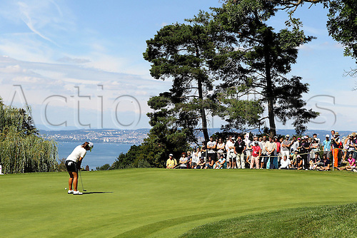 25 07 2010  Golf Evian Masters  2010 Evian Player and Spectators shown on  the Golf course for the Evian Masters with Lake Geneva in the background