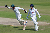 Ben Cox of Worcestershire celebrates the run out of Jamie Porter during Worcestershire CCC vs Essex CCC, Specsavers County Championship Division 1 Cricket at New Road on 13th May 2018