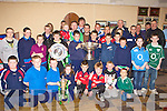 Some of the large crowd who gathered in Castleisland Rugby clubhouse to welcome the Grand Slam, Triple Crown and Magners League trophies on Thursday