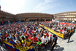 Sign on before the start of Stage 10 of the La Vuelta 2018, running 177km from Salamanca to Fermoselle. Bermillo de Sayago, Spain. 4th September 2018.<br /> Picture: Unipublic/Photogomezsport | Cyclefile<br /> <br /> <br /> All photos usage must carry mandatory copyright credit (&copy; Cyclefile | Unipublic/Photogomezsport)