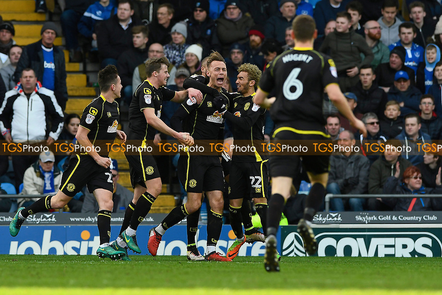 George Ray of Crewe Alexandra celebrates his goal with team mates during Portsmouth vs Crewe Alexandra, Sky Bet EFL League 2 Football at Fratton Park on 4th March 2017