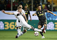 Calcio, Serie A: Parma - Juventus, Parma stadio Ennio Tardini, 1 settembre 2018.<br /> Juventus' Cristiano Ronaldo (r) in action with Parma's Riccardo Gagliolo (l) during the Italian Serie A football match between Parma and Juventus at Parma's Ennio Tardini stadium, September 1, 2018. <br /> UPDATE IMAGES PRESS/Isabella Bonotto