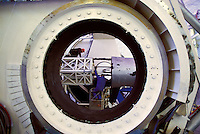 Man performing maintenance the keck telescope on Mauna Kea