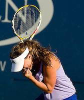 Michelle Larcher De Brito (POR) against  Mathilde Johansson (FRA) in the first round.  Larcher De Brito beat Johansson 1-6 7-5 6-1..International Tennis - US Open - Day 1 Mon 31 Aug 2009 - USTA Billie Jean King National Tennis Center - Flushing - New York - USA ..Frey,  Advantage Media Network, Barry House, 20-22 Worple Road, London, SW19 4DH