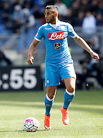 Calcio, Serie A: Roma vs Napoli. Roma, stadio Olimpico, 25 aprile 2016.<br /> Napoli&rsquo;s Faouzi Ghoulam in action during the Italian Serie A football match between Roma and Napoli at Rome's Olympic stadium, 25 April 2016.<br /> UPDATE IMAGES PRESS/Riccardo De Luca