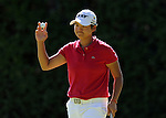 Yani Tseng of Chinese Taipei acknowledges the crowd after making her her putt on the 7th hole during the final round of the LPGA Safeway Classic golf tournament in Portland, Ore., Sunday, Sept. 01, 2013. (AP Photo/Steve Dykes)