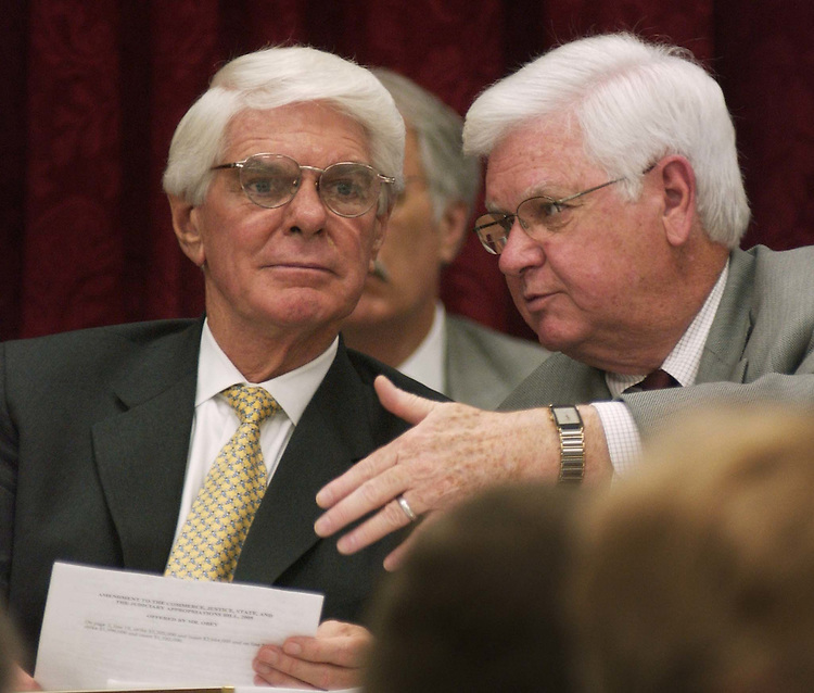 6/23/04.COMMERCE, JUSTICE, STATE AND JUDICIARY APPROPRIATIONS--Defense Subcommittee Jerry Lewis, R-Calif., and Homeland Security Subcommittee Chairman Harold Rogers, R-Ky., during the House Appropriations markup of draft legislation that would make fiscal 2005 appropriations for programs and activities of the Commerce Department, the Justice Department, the State Department and the federal judiciary...CONGRESSIONAL QUARTERLY PHOTO BY SCOTT J. FERRELL
