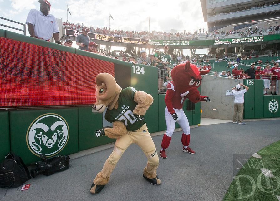 NWA Democrat-Gazette/BEN GOFF @NWABENGOFF<br /> Arkansas vs Colorado State Saturday, Sept. 8, 2018, at Canvas Stadium in Fort Collins, Colo.