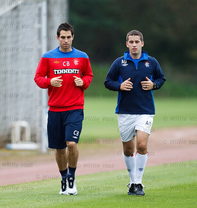 Carlos Bocanegra training with Adam Owen to shake off a bit of stiffness