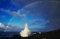 Spouting Horn with rainbow, Po'ipu, Kauai, Hawaii, USA, August 1996