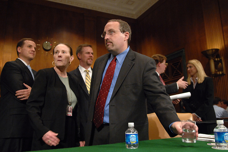 "Bradley Schlozman, associate counsel to the director of the Executive Office for United States Attorneys, prepares to testify before a Senate Judiciary Committee hearing entitled ""Preserving Prosecutorial Independence: Is the.Department of Justice Politicizing the Hiring and Firing of U.S. Attorneys?.- Part V."""