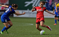 Portland, OR - Sunday, May 29, 2016: Portland Thorns FC midfielder Meleana Shim (6) is marked by Seattle Reign FC defender Kendall Fletcher (13). The Portland Thorns FC and the Seattle Reign FC played to a 0-0 tie during a regular season National Women's Soccer League (NWSL) match at Providence Park.