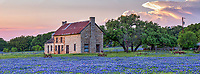 We capture this Marble Falls farmhouse with bluebonnets in the Texas Hill Country panorama after sunset. A storm cloud moving into the hill pops right at dusk. Spring in the hill country means bluebonnet and the search begins for what could be a bumper crop this year.  We had to come back serveral times to capture this old farmhouse as you never know how long it will be around.  Another great capture with bluebonnets at dusk and a few indian paintbrush wildflowers with this old farm house in the Texas hill country this spring.